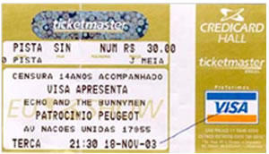 Ingresso - Echo and The Bunnymen
